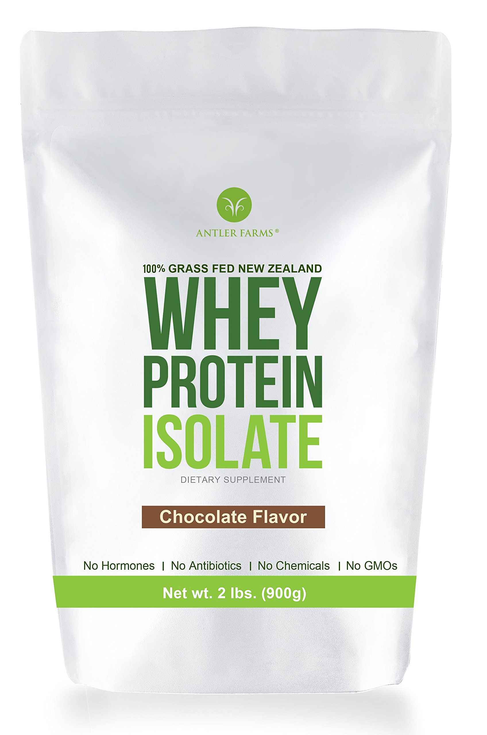 Antler Farms - 100% Grass Fed New Zealand Whey Protein Isolate, Chocolate Flavor, 30 Servings, 2 lbs - Delicious, Cold Processed, Rapidly Absorbed, Keto Friendly, NO Hormones, NO Antibiotics, NO GMOs by Antler Farms