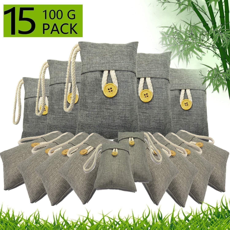 DFEDCLL Bolsa de purificación de Aire de carbón de leña 15 Paquete, Bolsa de carbón de bambú Activado Filtro Natural de Olor, absorción de Humedad - Desodorizantes Aptos para niños y Mascotas