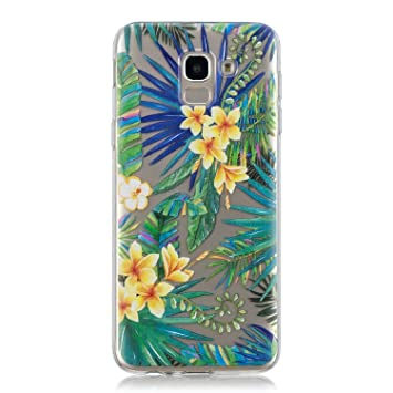 Coque Samsung Galaxy J6 Plus Fleur de papillon TPU Housse Étui Pour Samsung Galaxy J6 Plus 2018 (6.0 Pouces) et 2 X Film Protection