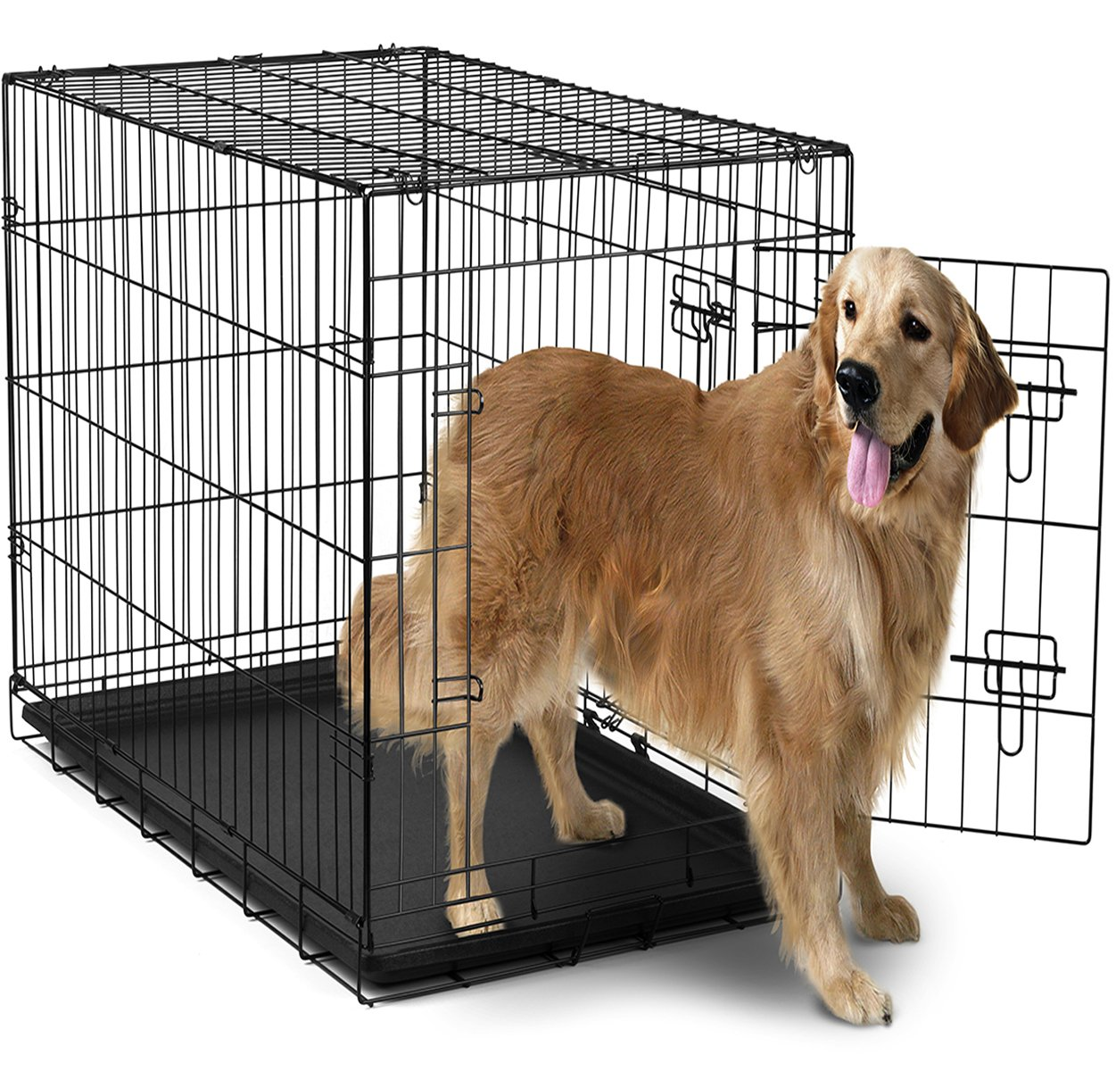 amazoncom  oxgord  xxl dog crate doubledoors folding metal  - amazoncom  oxgord  xxl dog crate doubledoors folding metal wdivider  tray  x  x   newly designed model  pet supplies