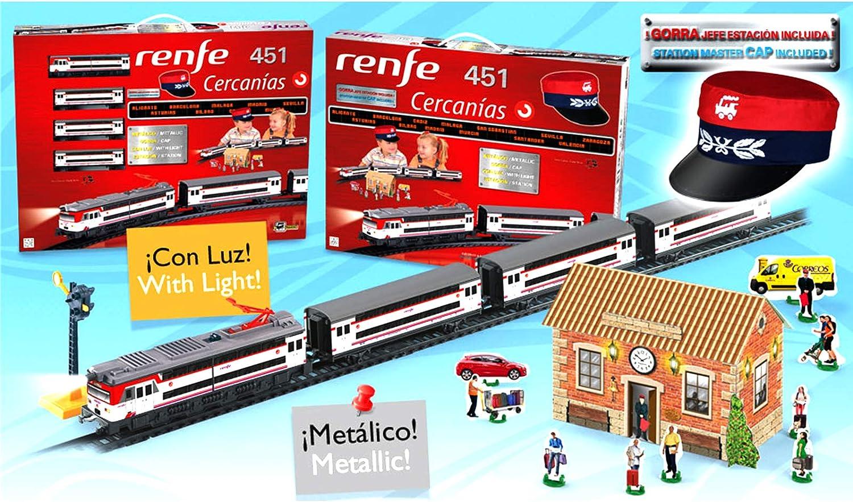 ONOGAL Tren electrico de Juguete RENFE Cercanias Locomotora con Luz Vagones y Diorama 685_Tren