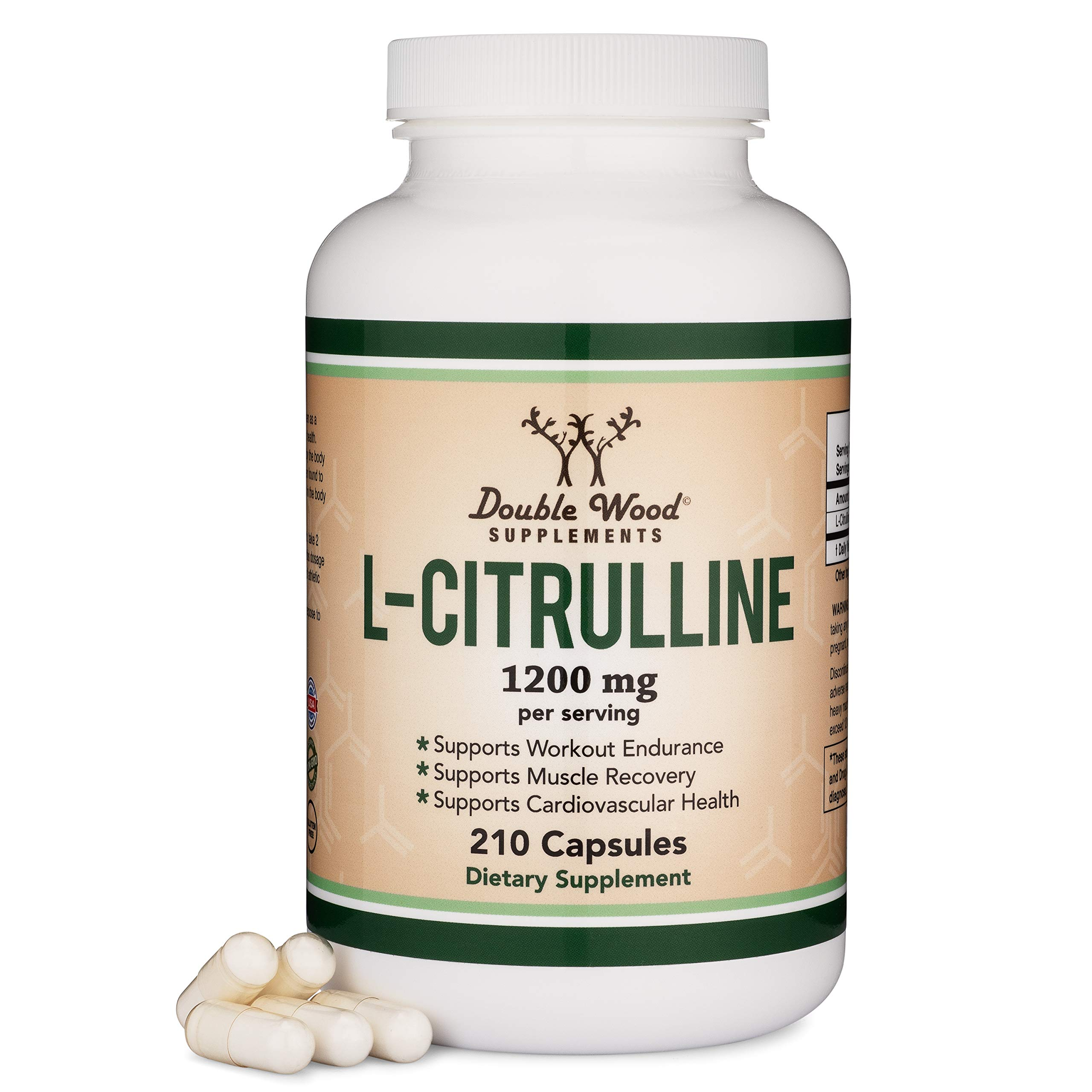 L Citrulline Capsules 1,200mg Per Serving, 210 Count (L-Citrulline Increases Levels of L-Arginine and Nitric Oxide) Muscle Recovery Supplement - Improve Muscle Pump by Double Wood Supplements by Double Wood Supplements
