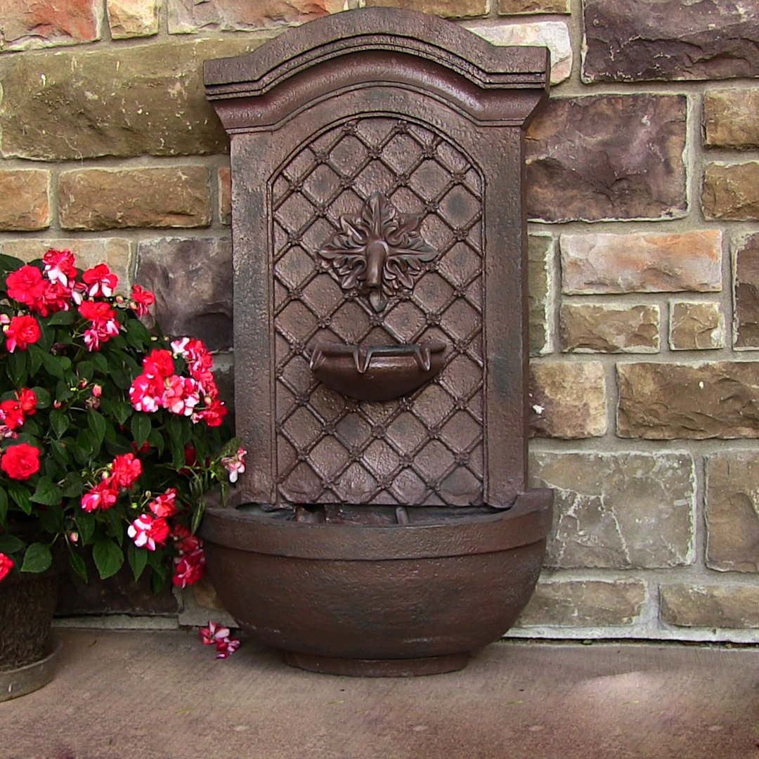 Sunnydaze Rosette Solar Wall Fountain, Weathered Iron, Solar on Demand Feature