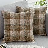 WLNUI Set of 2 Scottish Tartan Plaid Pillow Covers 18x18 Inch Retro Buffalo Check Throw Pillow Covers Cotton Linen Square Cushion Case for Farmhouse Home Couch Sofa Decor