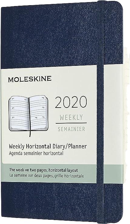 Moleskine 12 Mesi 2020 Agenda Settimanale 144 Pagine Colore Blu Zaffiro Copertina Rigida e Chiusura ad Elastico Dimensione Extra Large 19 x 25 cm