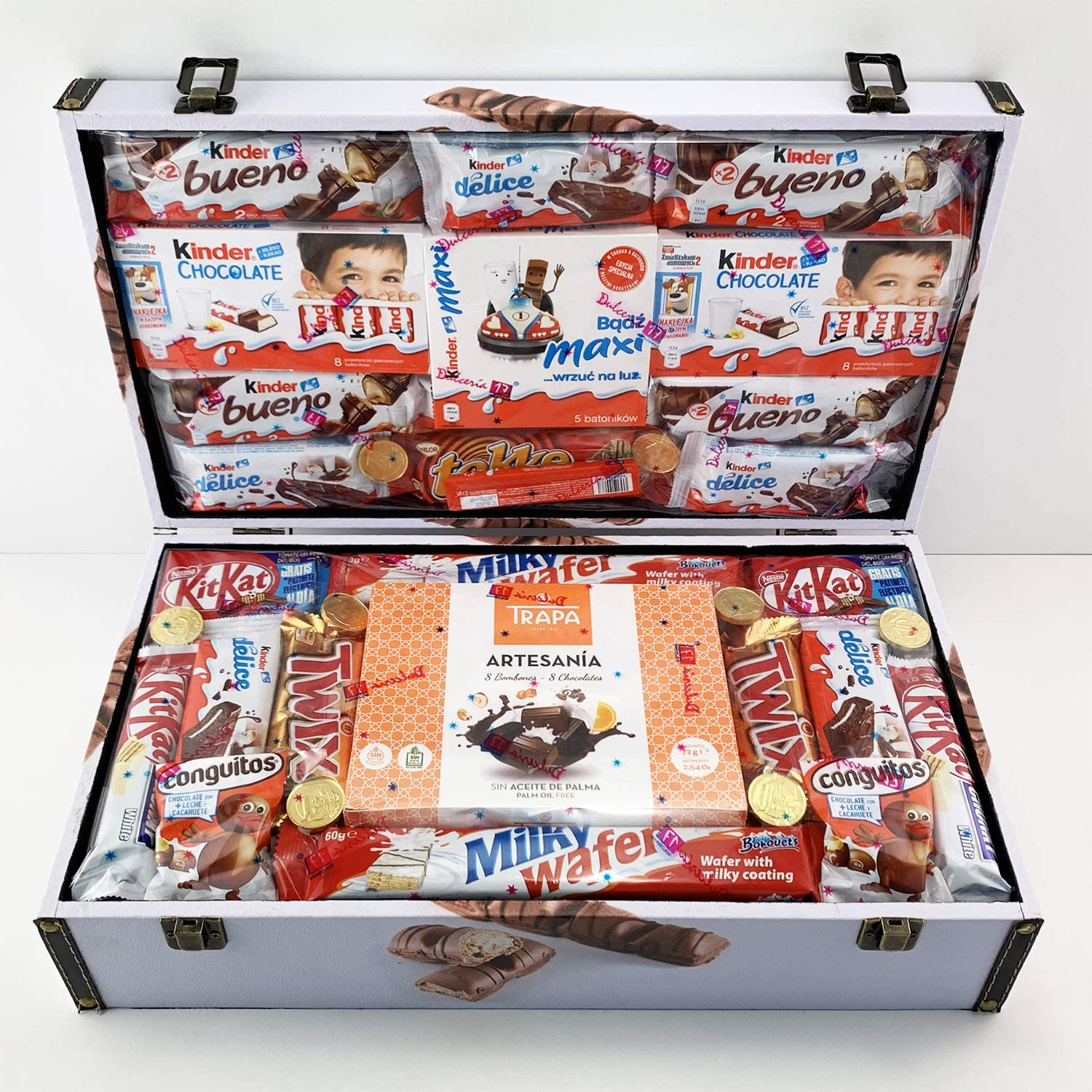 Cofre Regalo Kinder Grande - Kinder Bueno Tokke Kinder Chocolate Maxi Kit Kat Choco Wafer Conguitos: Amazon.es: Alimentación y bebidas
