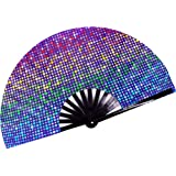 Rave Hand Fan – Large Folding Fans for Festivals, Drag Queen & Burlesque – Cute Holographic Rave Accessories for Women