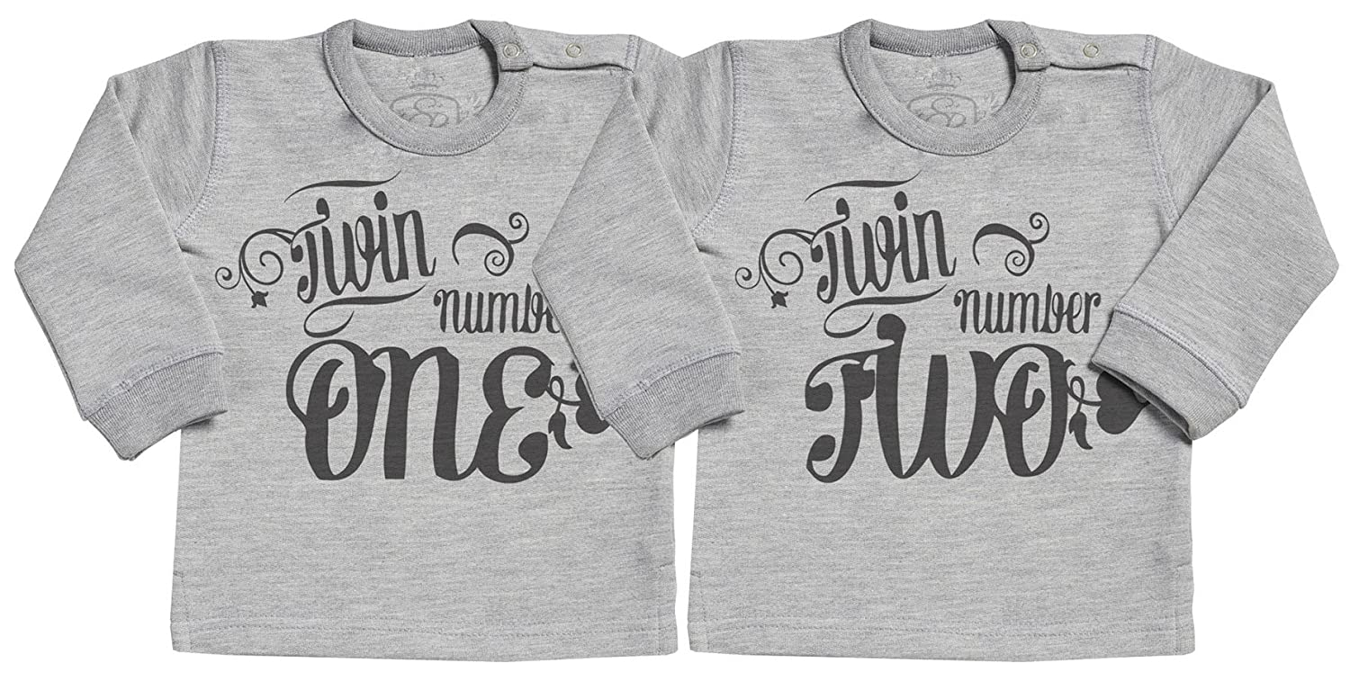 SR - Twin Number One & Two Long Sleave Baby Sweater - Baby Sweater Gift - Baby Sweatshirt - Baby Clothing Twins Set SRC13_TW-SW