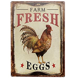 "SIGNT Outdoor Chicken Sign Farm Fresh Organic Eggs Metal Wall Decor Retro Vintage Metal Tin Signs Rustic Farmhouse Country Wall Art Sign 8"" X 12"""