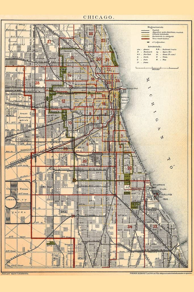 City of Chicago Illinois Historic Antique Style Map Cool Wall Decor Art Print Poster 12x18
