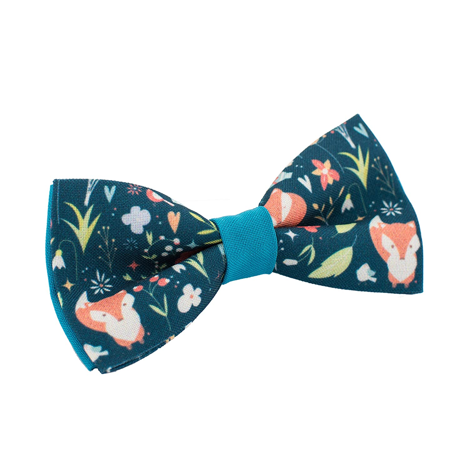 Bow Tie House Fox bow tie blue gabardine material unisex pre-tied pattern