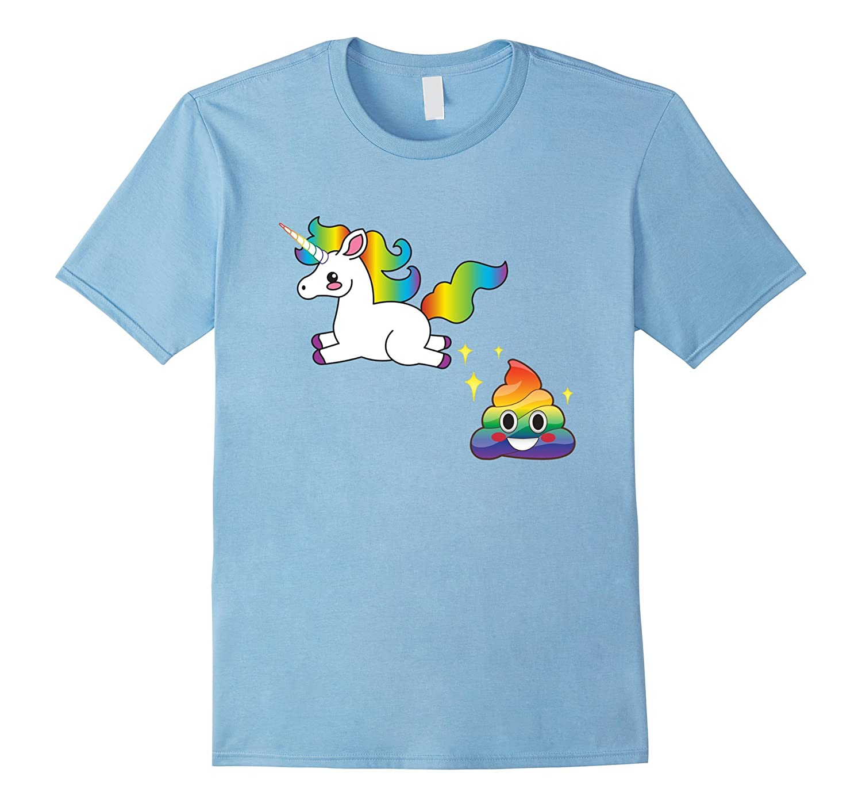 Funny Emoji Unicorn Poop T-Shirt - Cute Rainbow Sparkle Poo-RT
