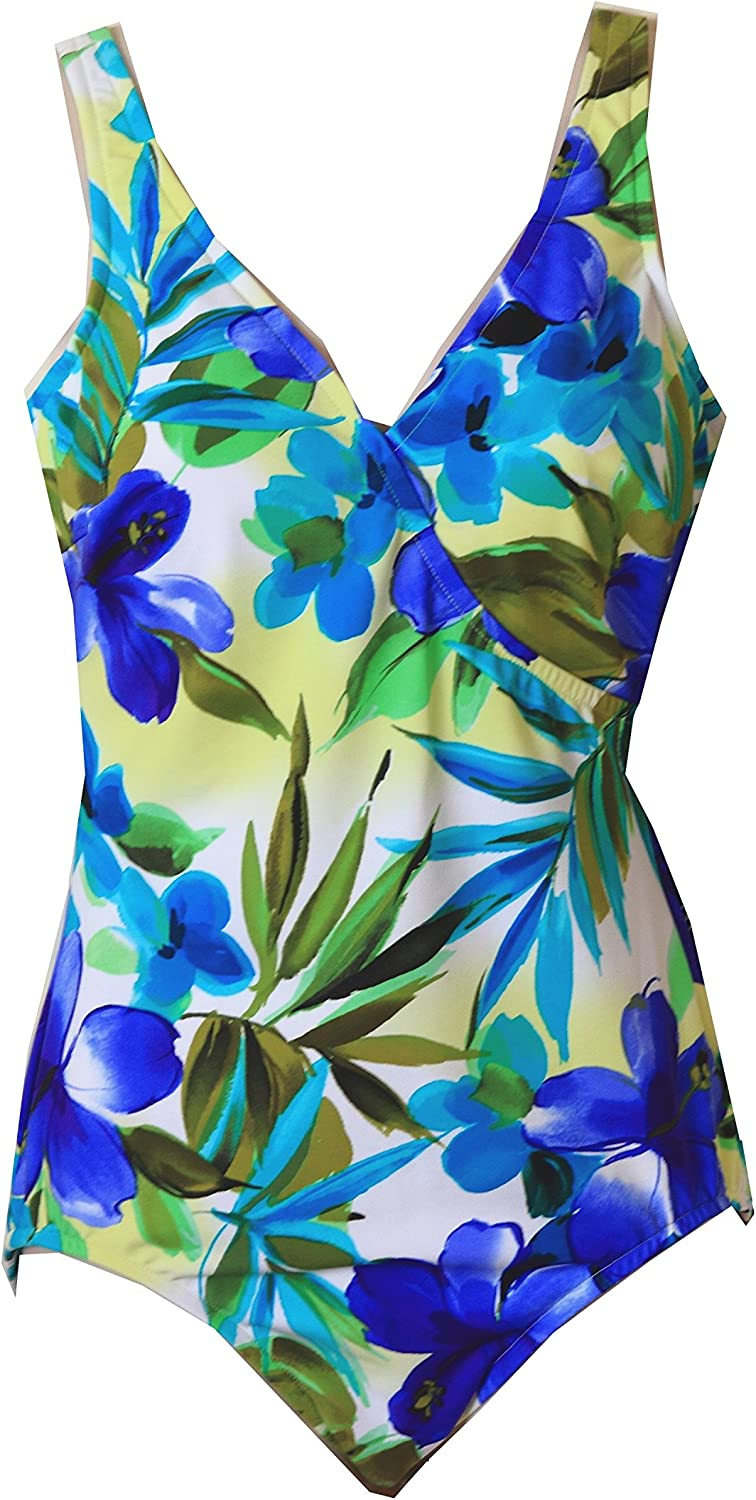 Miraclesuit Wrap Tropical Floral Tank Style Swimsuit