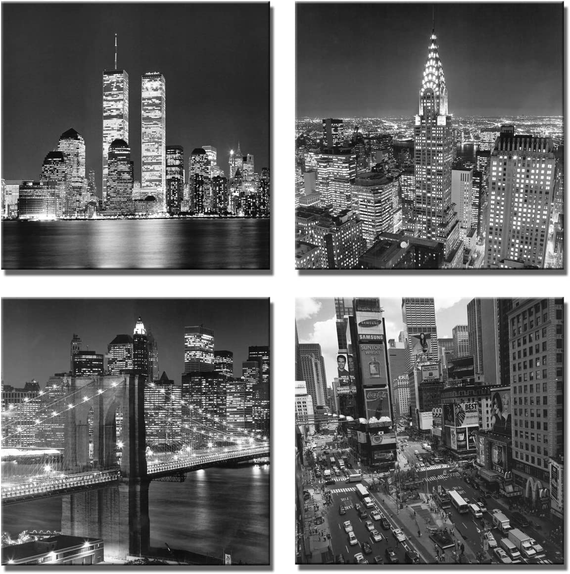 New York City Canvas Wall Art Print Black And White Brooklyn Bridge Empire State Building Wall Art Modern Giclee Artwork For Office Home Decor 12x 12 Inch Posters Prints