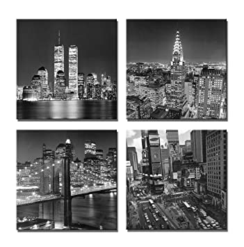 Yin art new york city canvas print black and white brooklyn bridgeempire state