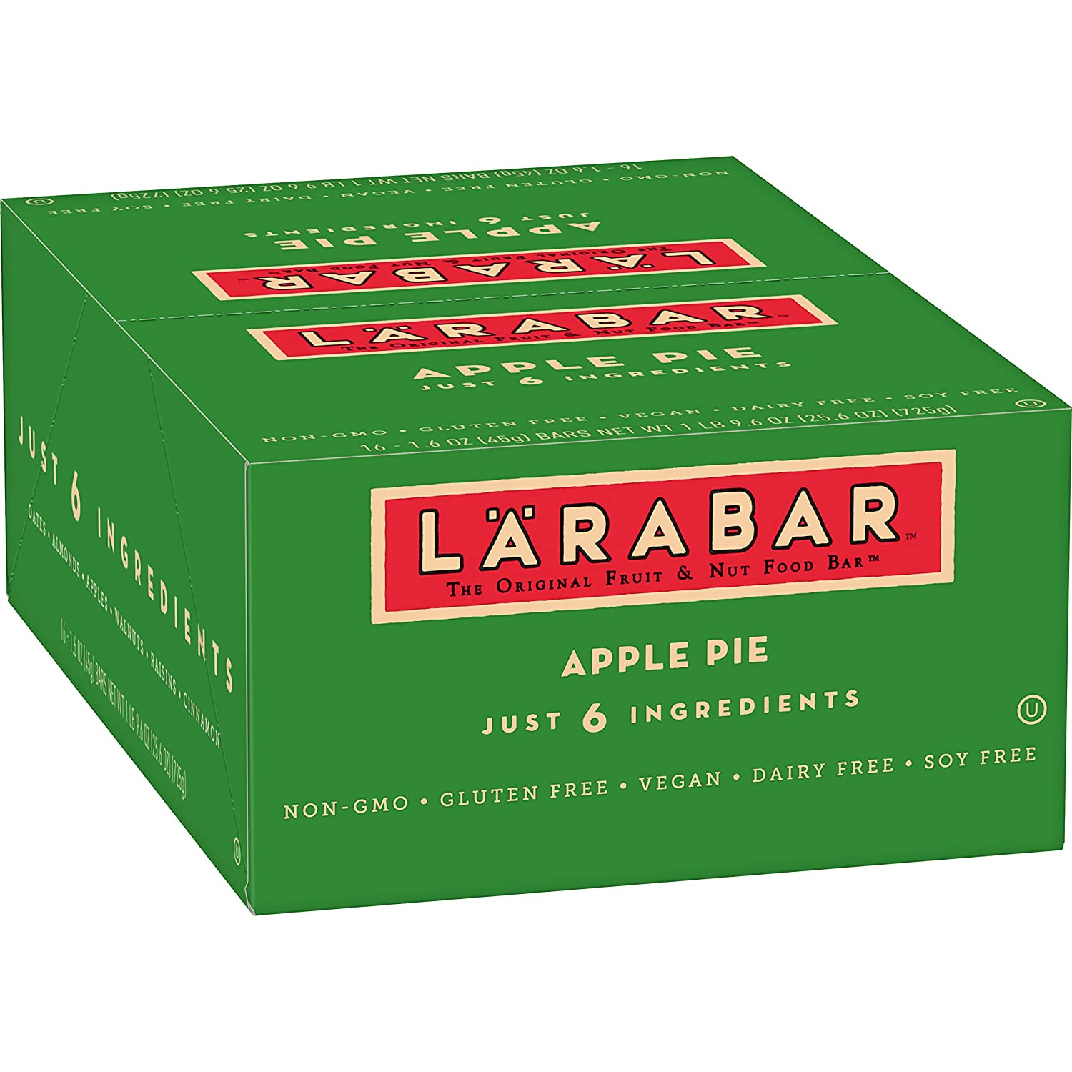 Larabar Gluten Free Bar, Apple Pie, 1.6 oz Bars (16 Count), Whole Food Gluten Free Bars, Dairy Free Snacks