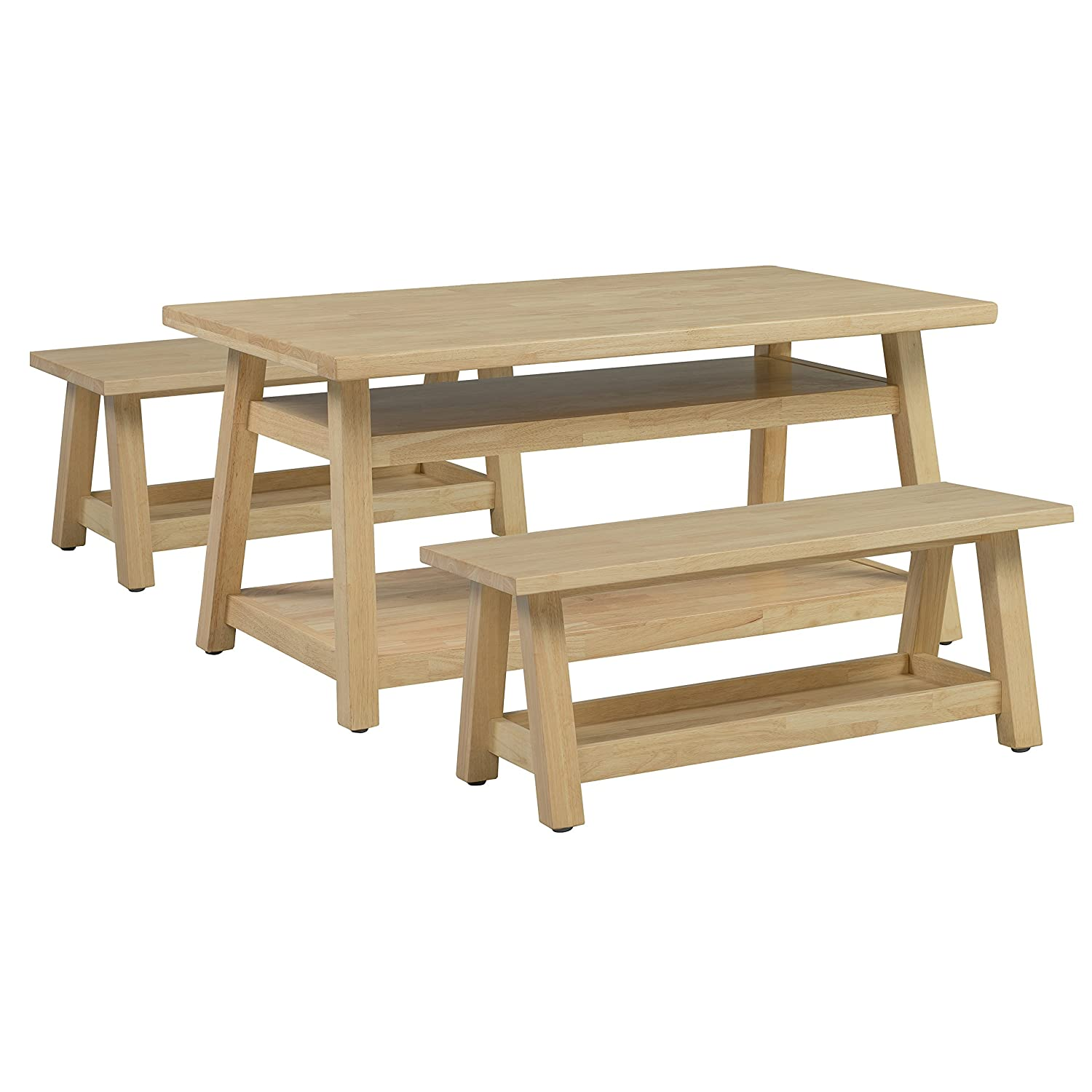 Amazon Com Ecr4kids Sit N Stash Solid Hardwood Table And Bench