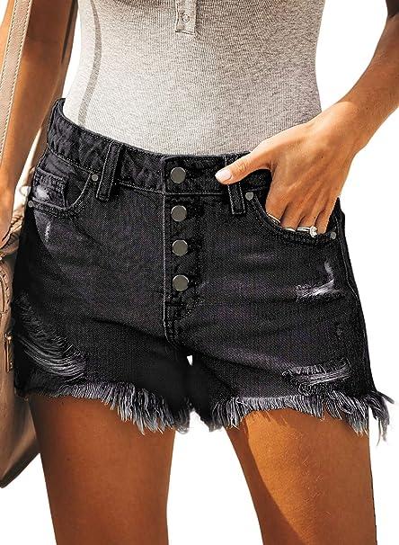 Amazon.com: BLENCOT pantalones cortos de jean con botones ...