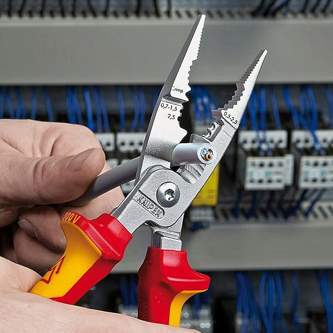 KNIPEX 13 86 200 Alicate para instalaciones eléctricas cromado aislados con fundas en dos componentes, según norma VDE 200 mm