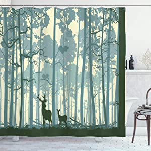 Ambesonne Deer Shower Curtain, Animal Silhouette in Foggy Forest Animals in Nature Themed Cartoon Dusk Artwork, Cloth Fabric Bathroom Decor Set with Hooks, 84