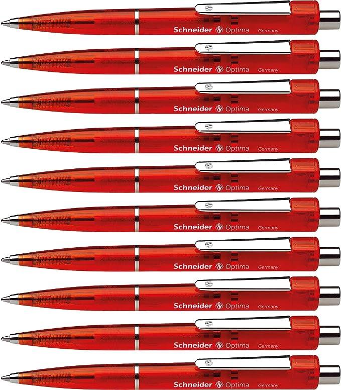 M 10 x Schneider Druckkugelschreiber OPTIMA dokumentenecht rot