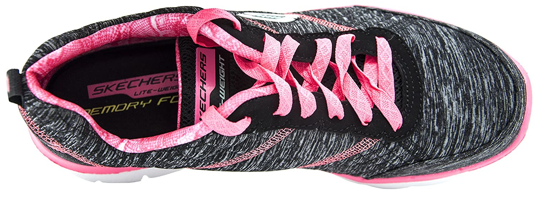 Skechers Damen Flex Appeal 2.0 Sneakers, Schwarz Bkhp/Black/Hot Pink