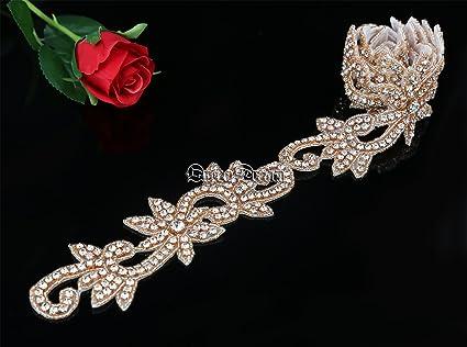 5e43627f54 QueenDream Rose Gold 1 Yard Wedding Belt Rhinestone Applique Bridal  Applique Trim Crystal Applique Belt Ribbon Rhinestone Applique for Wedding  Dress