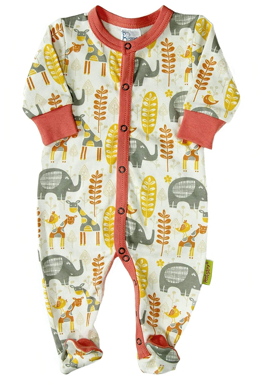 Hooligans Hello Africa Ellie and Giraffe Print Babygrow