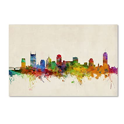Amazon trademark fine art nashville watercolor skyline by trademark fine art nashville watercolor skyline by michael tompsett 22x32 inch canvas wall art gumiabroncs Image collections