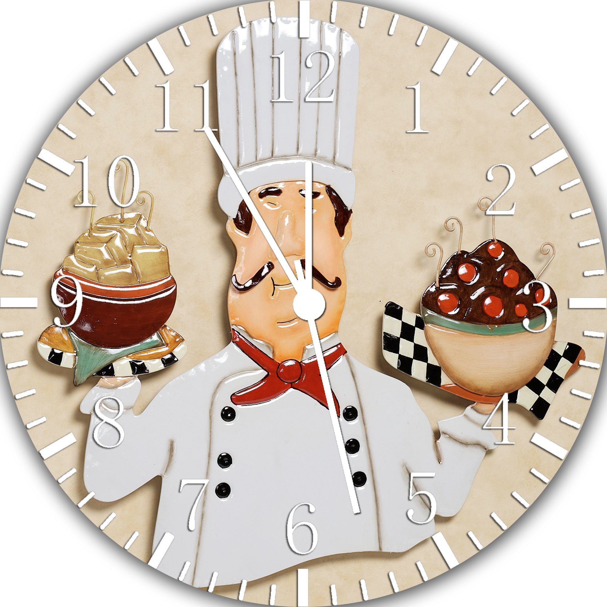 Chef Frameless Borderless Wall Clock W367 Nice For Gift or Room Wall Decor