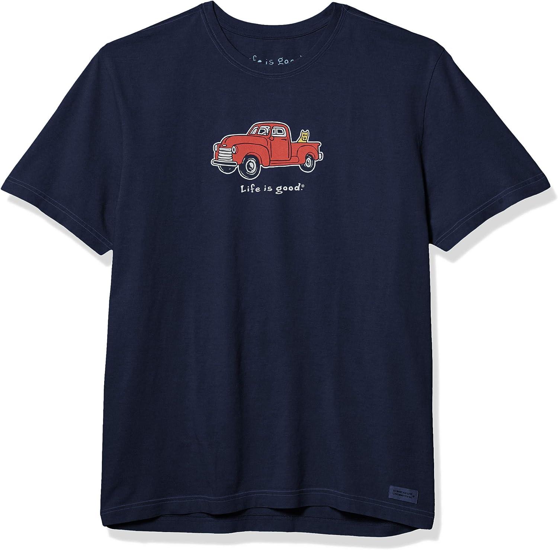 Life is Good Unisex-Adult Vintage Crusher Rocket Dog Graphic T-Shirt: Clothing