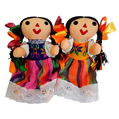 Juanita Bartolo Typical Handmade Mexican Doll Maria, Assorted Colors, with Hair bun (2 Pack): Toys & Games