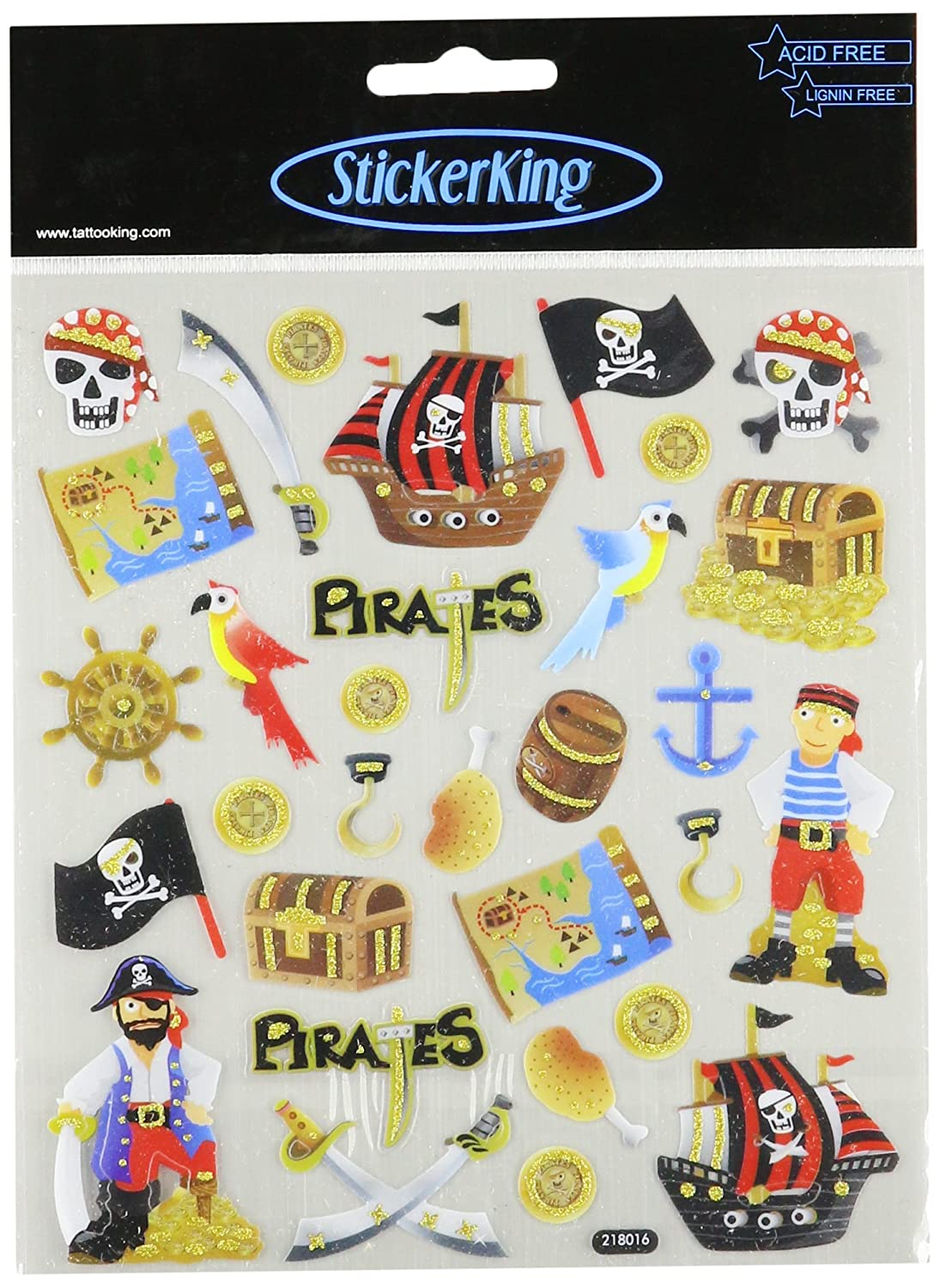In Network SK129MC-4511 Tattoo King Multi-Colored Stickers-Pirates Glitter Notions