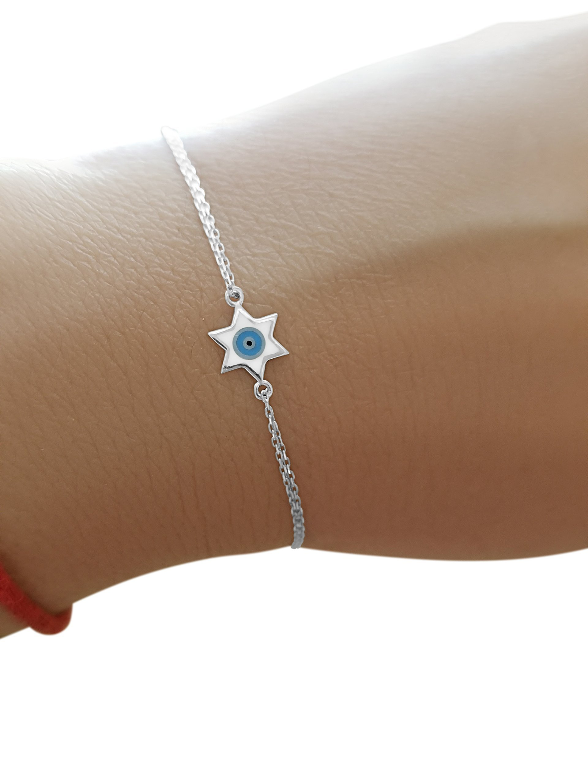 Sterling Silver Jewish Star and Evil Eye Bracelet To Guide You + Add Style + Beauty | Alef Bet Jewelry