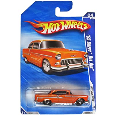 Hot Wheels '10 Hot Auction Orange '55 Chevy Bel Air 162/240: Toys & Games