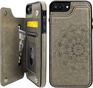 Vaburs iPhone 7 Plus iPhone 8 Plus Case Wallet with Card Holder, Embossed Mandala Pattern Flower Premium PU Leather Double Magnetic Buttons Flip Shockproof Protective Case(Gray)