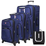SWISSGEAR 6283 Amazon Exclusive Premium 3pc Spinner Luggage Set with Dopp Kit Bundle - Blue