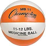 Champion Sports Leather Medicine Ball (Orange/White, 11.02-Pound)