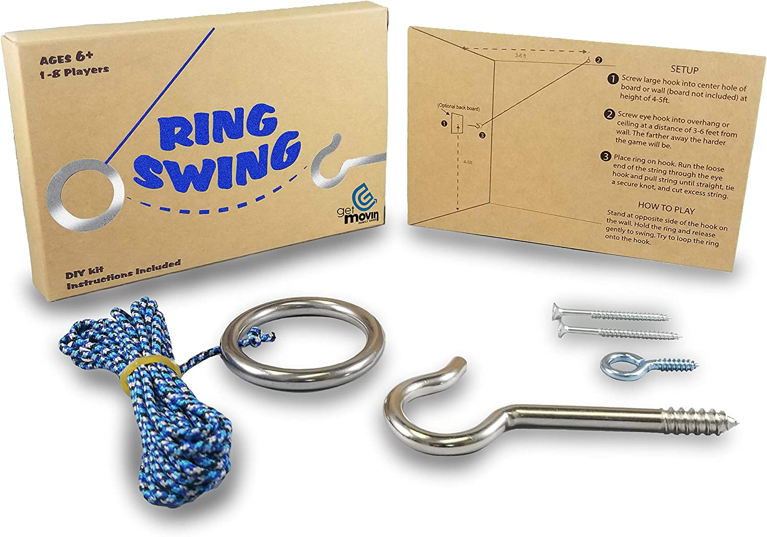 GETMOVIN SPORTS Hook and Ring Swing DIY Kit Stainless Steel Hardware and Nylon String Ring Toss Game Indoor – Outdoor for Endless Hours of Fun!