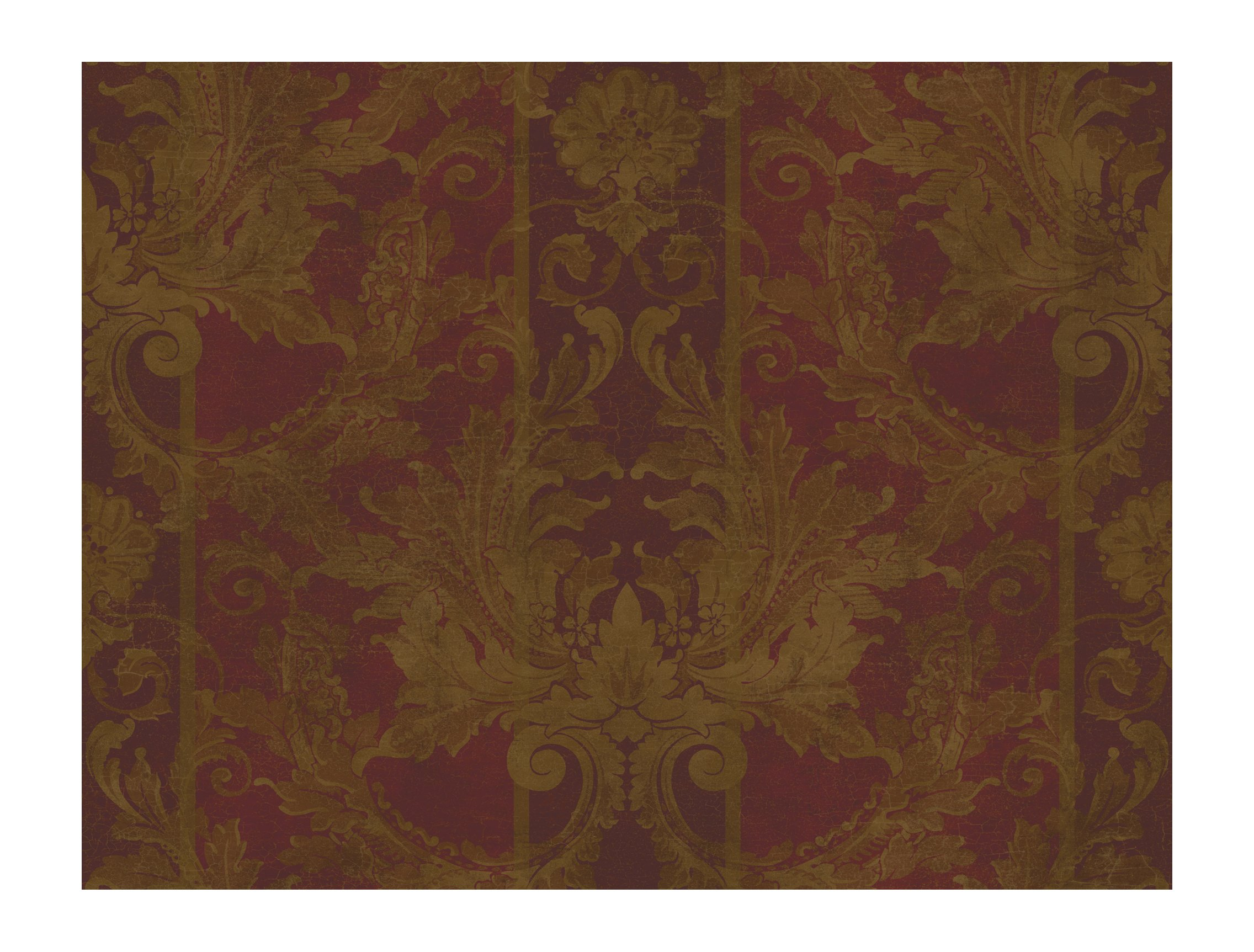 York Wallcoverings GL4727 Gold Leaf Aida Damask W/Stripe Wallpaper, Dark Red/Metallic Gold/Dark Bronze