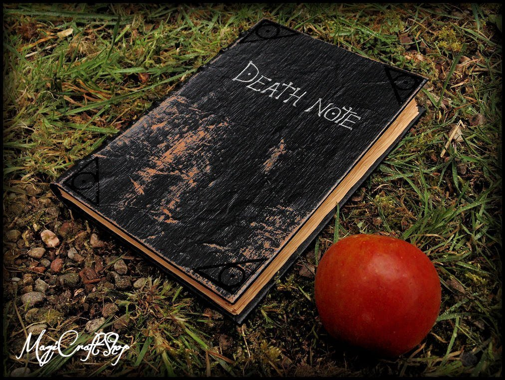 Replica Death Note notebook - book with parchment pages with first five rules inside it by MagiCraftShop UK