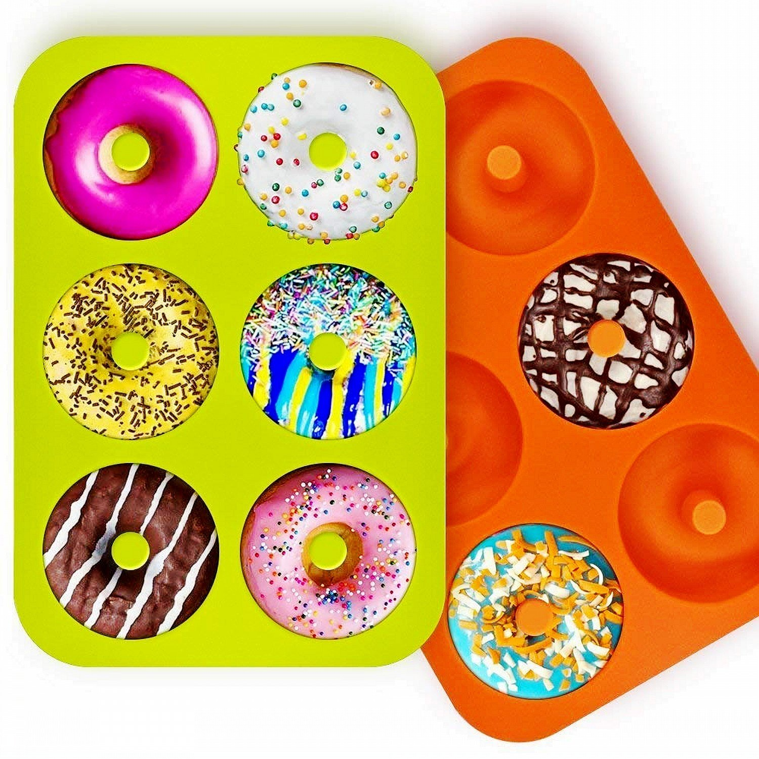 OKSANO 3 Pack Donut Molds, Silicon Cake Mold 6 Cavity Non-Stick Safe Baking Tray Maker Pan Heat Resistance for Cake Biscuit Bagels Muffins-Orange, Rose Red, Green by OKSANO (Image #4)