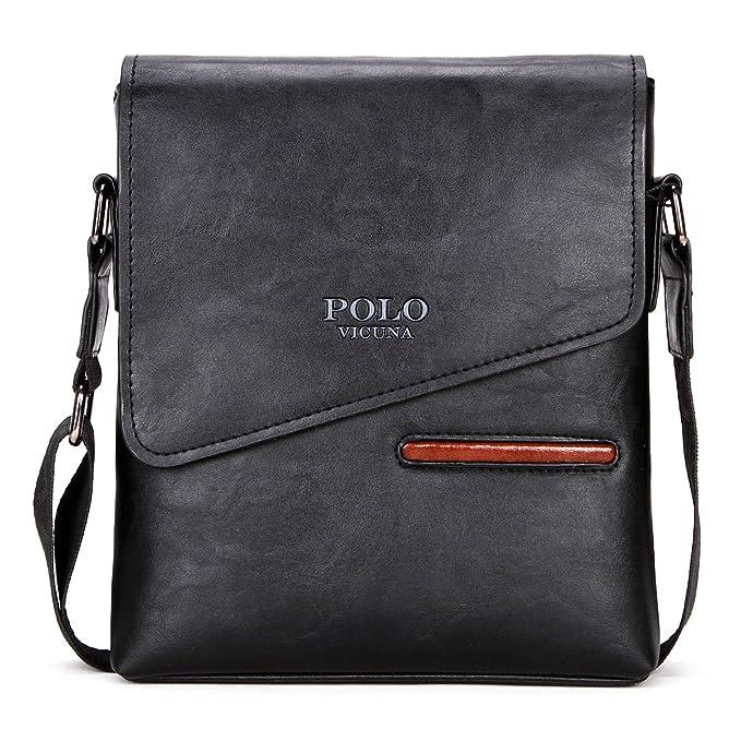 d2cbaebd77d VICUNA POLO Men Shoulder Bag Frosted Leather Business Man Bag Messenger Bag  ¡ (black)