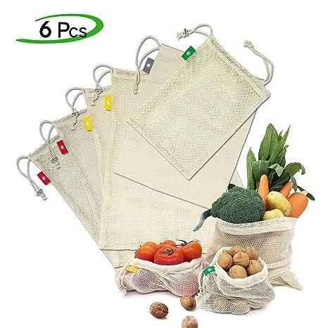 Ezlife Bolsas Reutilizables Compra , Bolsas Reutilizables Fruta de Algodon Ecológicas Lavable y Transpirable Bolsa de Malla para Fruta Verduras ...