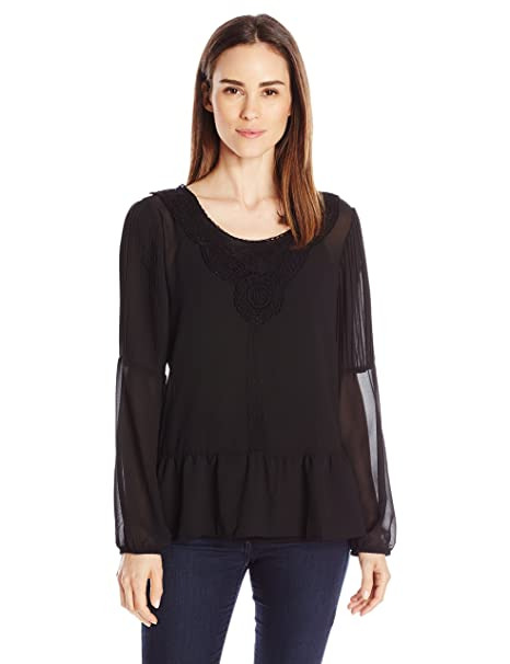 6b49d61ac85481 NY Collection Women s Solid Long Sleeve Peplum Top with Crochet Trim  Amazon.in   Clothing   Accessories