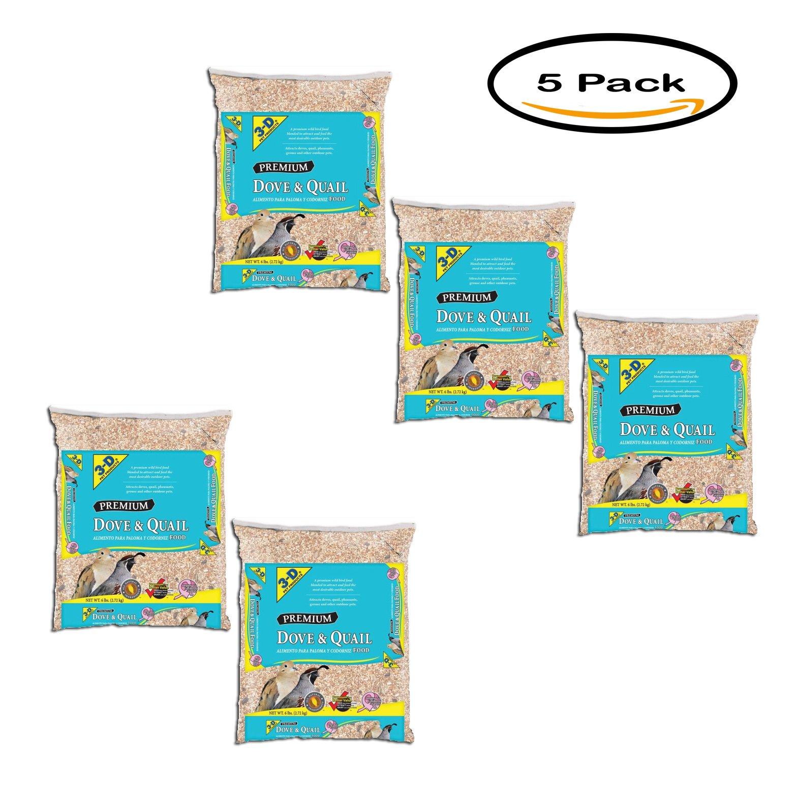 PACK OF 5 - 3-D Pet Products Premium 6lb Dove & Quail Food by Pet D
