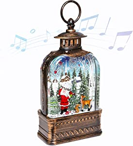 CaiFang Christmas Lighted Snow Globe Lantern, 6H Timer Musical Water Snow Globes, USB Powered& Battery Operated Santa Decorations Lantern for Holiday Season Home Decor
