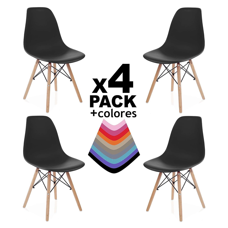 Due-home (Nordik) – 4 Stühle Tower schwarz, Stuhl aus Buchenholz, Nachbildung des Eames-Tower-Stuhls, Maße 47 cm breit x 56 cm tief x 81 cm hoch