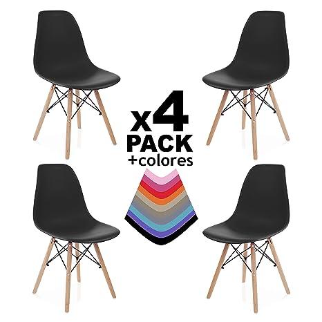 duehome - Nordik- Pack 4 sillas de Comedor, Salon, Cocina o Escritorio,