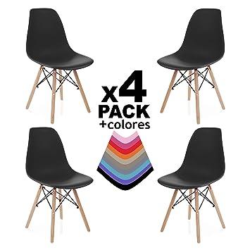 duehome Nordik Pack 4 SILLAS Comedor Negro, Polipropileno y Madera, 56x47x81 cm, 4 Unidades